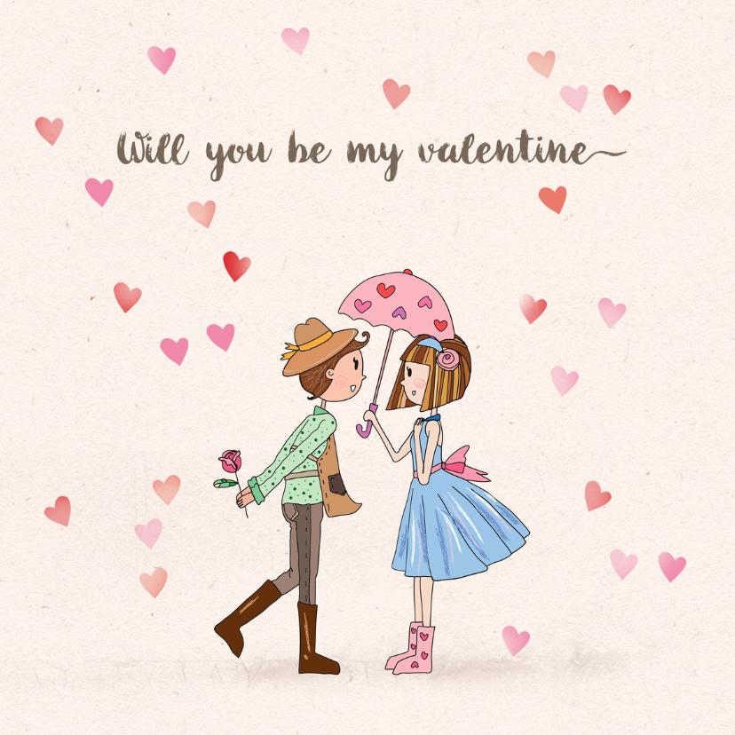 Valentijnskaarten - Valentijnskaart hartenregen