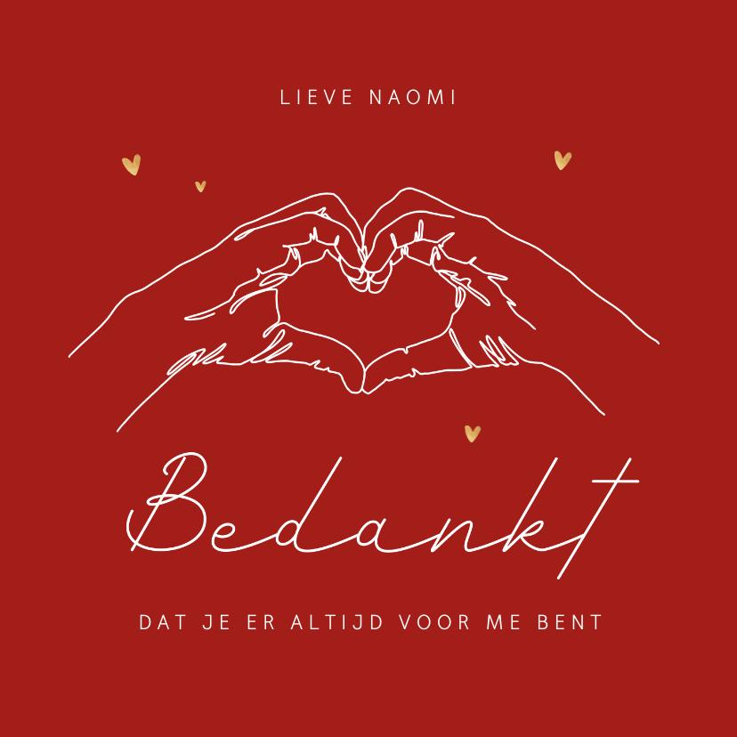 Valentijnskaarten - Valentijnskaart hartgebaar bedankt liefde hartjes goud