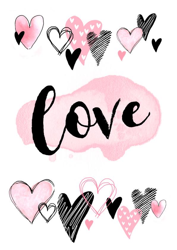 Valentijnskaarten - Valentijnskaart hartjes aquarel hip roze