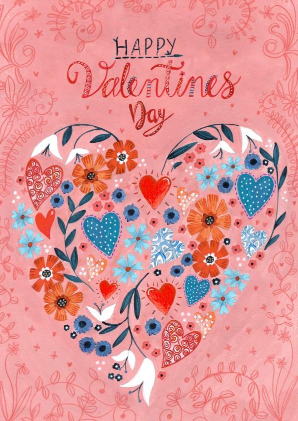 Valentijnskaarten - Valentijnskaart hartjes en bloemen