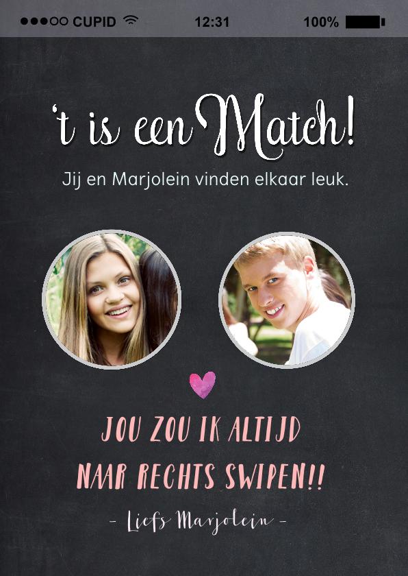 Valentijnskaarten - Valentijnskaart het is een match met 2 foto's