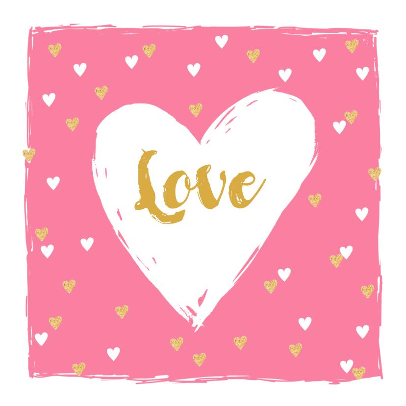 Valentijnskaarten - Valentijnskaart hip hartjes goud roze
