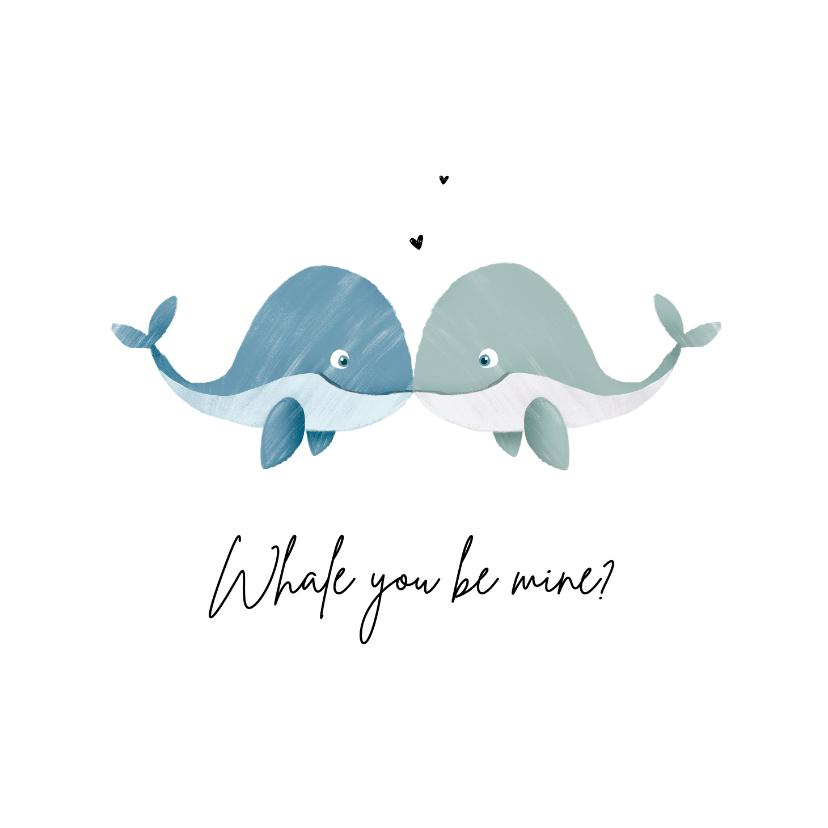 Valentijnskaarten - Valentijnskaart homo met walvisjes en hartjes