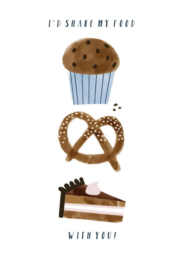 Valentijnskaarten - Valentijnskaart I'd share my food with you en illustraties