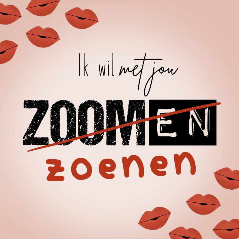 Valentijnskaarten - Valentijnskaart ik wil met je zoenen kusjes corona roze