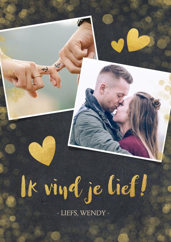 Valentijnskaarten - Valentijnskaart krijtbord met gouden hartjes en confetti