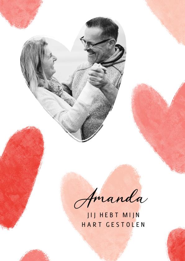 Valentijnskaarten - Valentijnskaart liefde hartjes foto hart gestolen