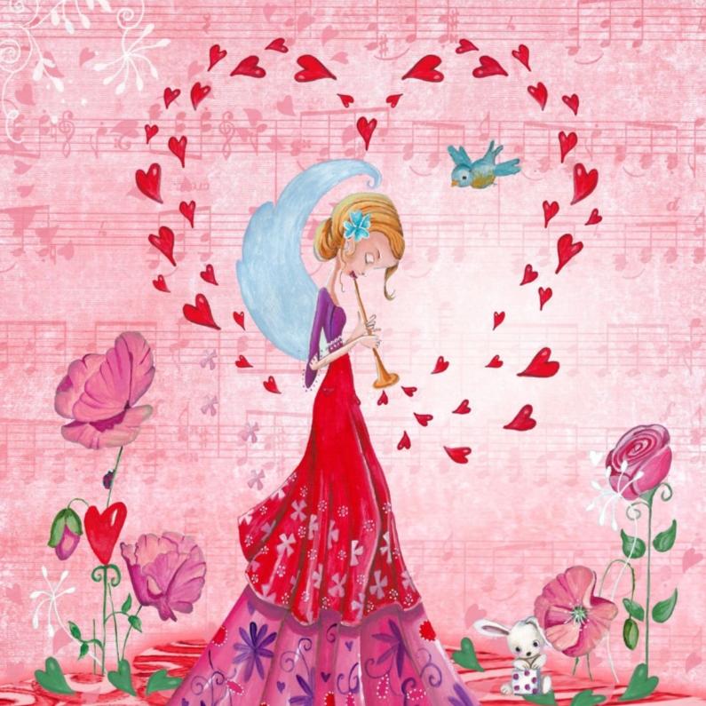 Valentijnskaarten - Valentijnskaart Liefde Hartjes Trompet