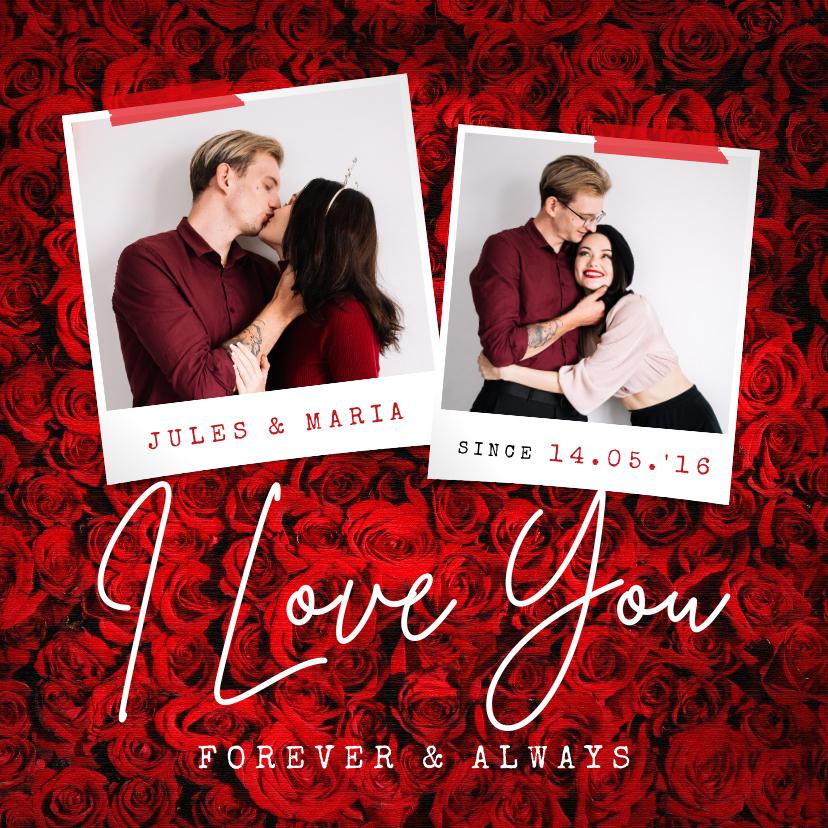 Valentijnskaarten - Valentijnskaart liefde rozen rood i love you foto's