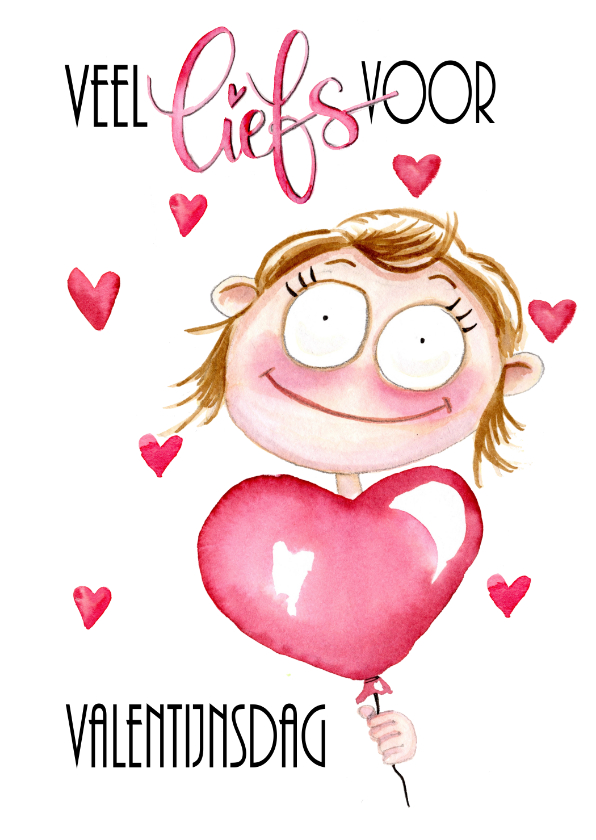 Valentijnskaarten - Valentijnskaart meisje met ballon