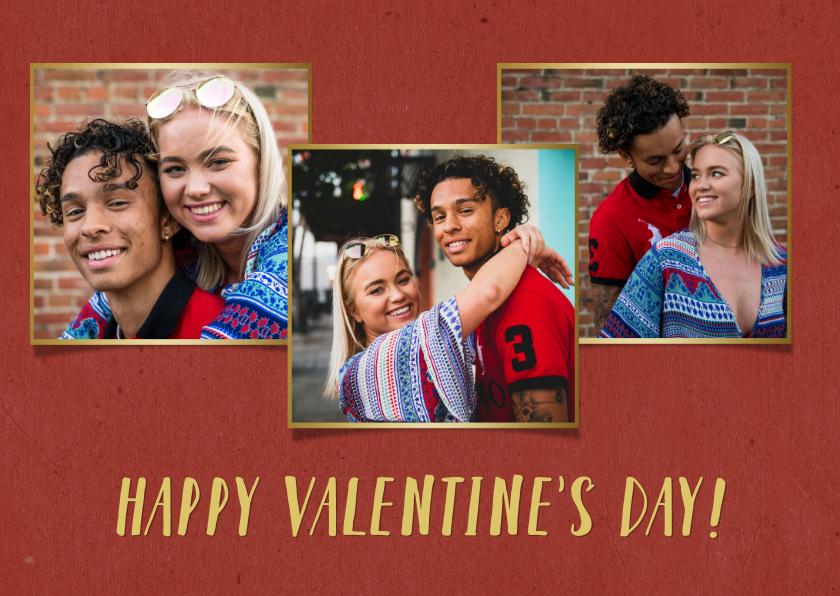 Valentijnskaarten - Valentijnskaart met 3 foto's met gouden fotokaders