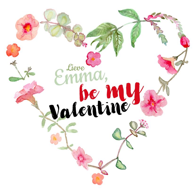 Valentijnskaarten - Valentijnskaart met bloemen hartje