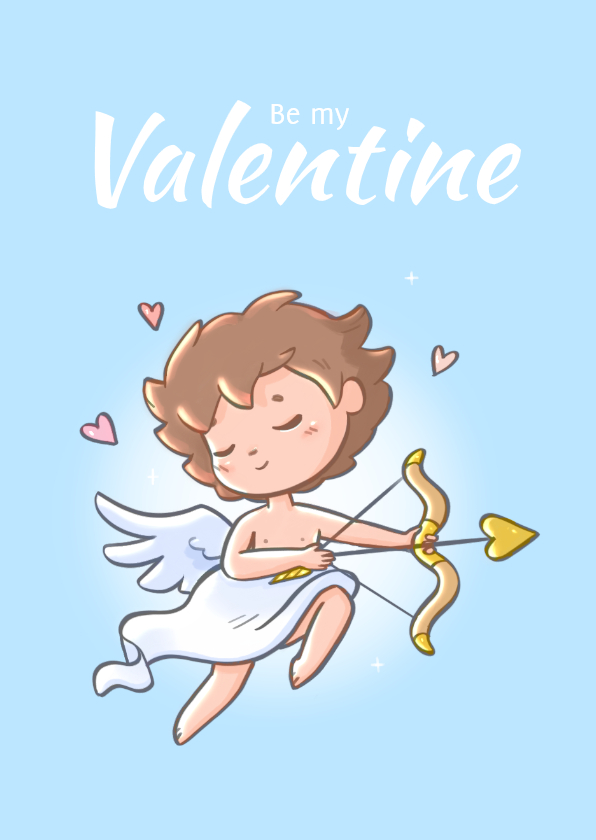 Valentijnskaarten - Valentijnskaart met Cupido illustratie