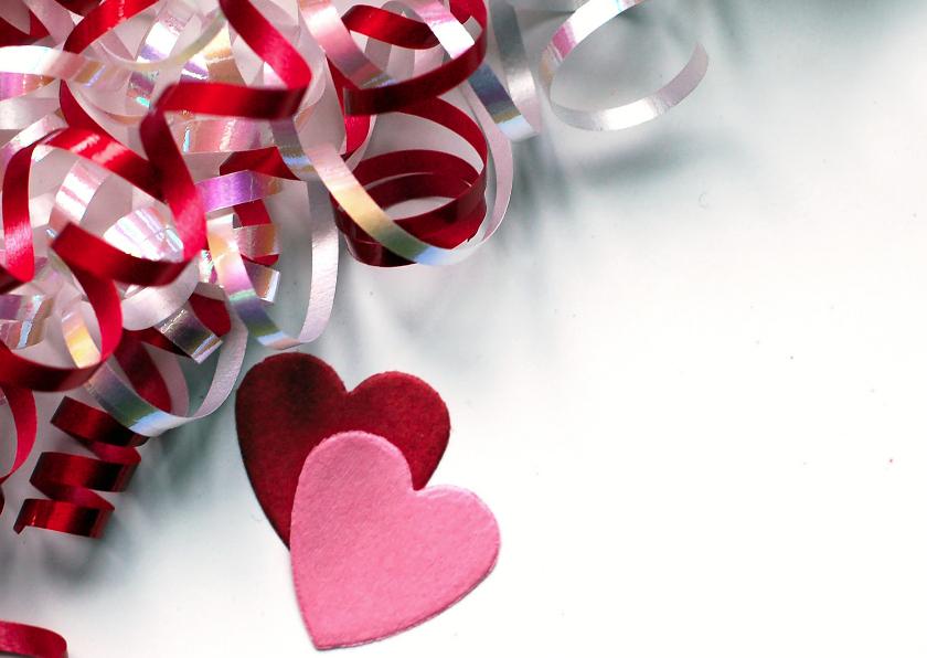 Valentijnskaarten - Valentijnskaart met decoratielint