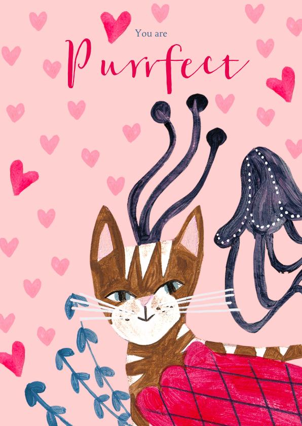 Valentijnskaarten - Valentijnskaart met een Purrfect Poes