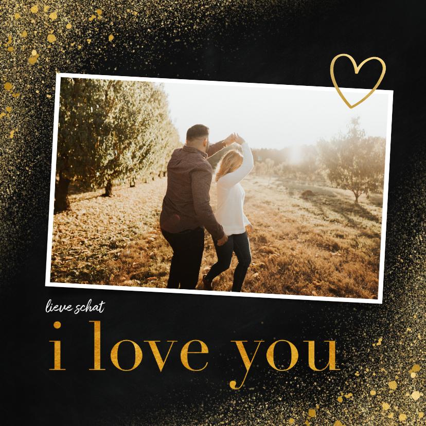 Valentijnskaarten - Valentijnskaart met foto en goudlook i love you
