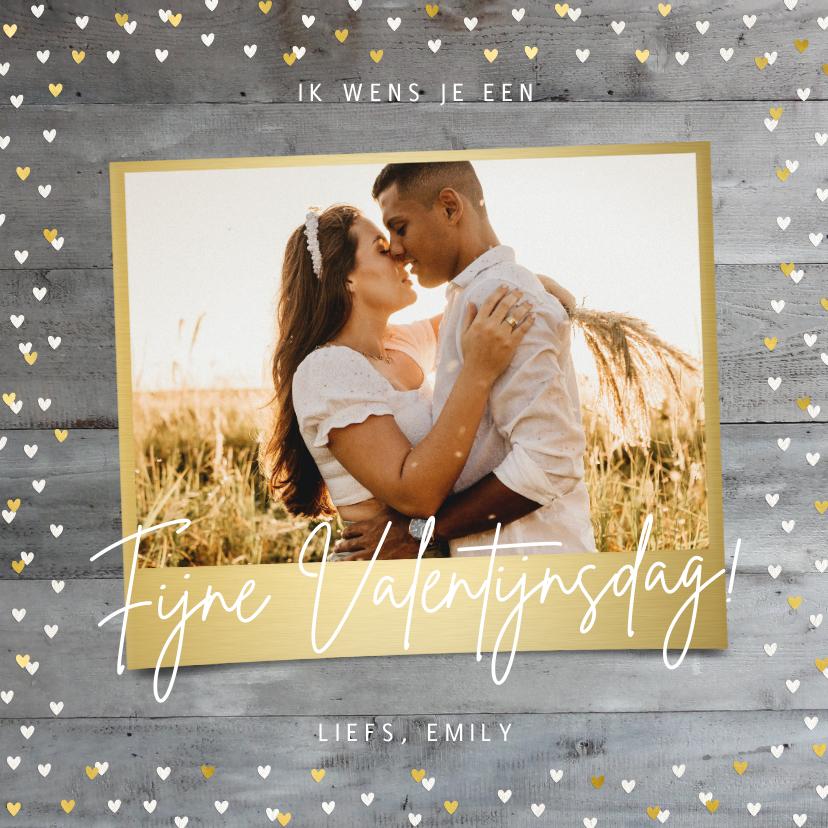 Valentijnskaarten - Valentijnskaart met foto op houtlook en gouden hartjes