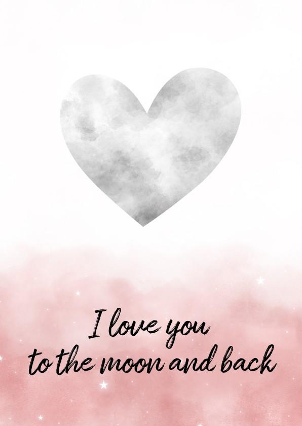 Valentijnskaarten - Valentijnskaart met hartvormige maan en waterverf