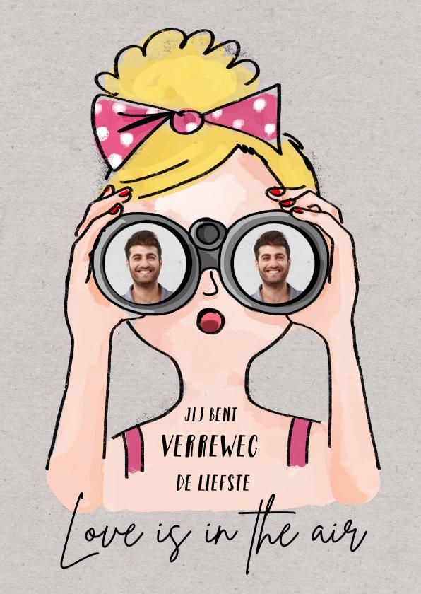 Valentijnskaarten - Valentijnskaart met meisje met verrekijker en foto's