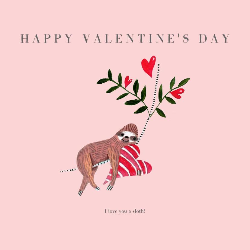 Valentijnskaarten - Valentijnskaart met trendy sloth en hartje