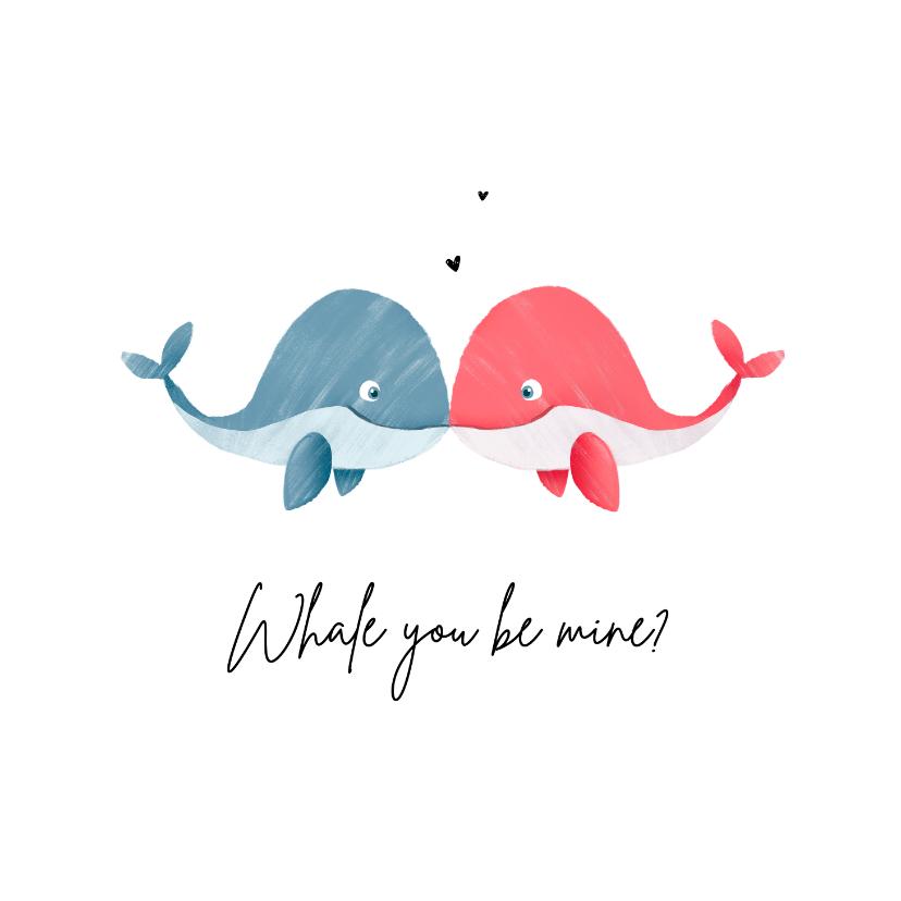 Valentijnskaarten - Valentijnskaart met walvisjes en hartjes