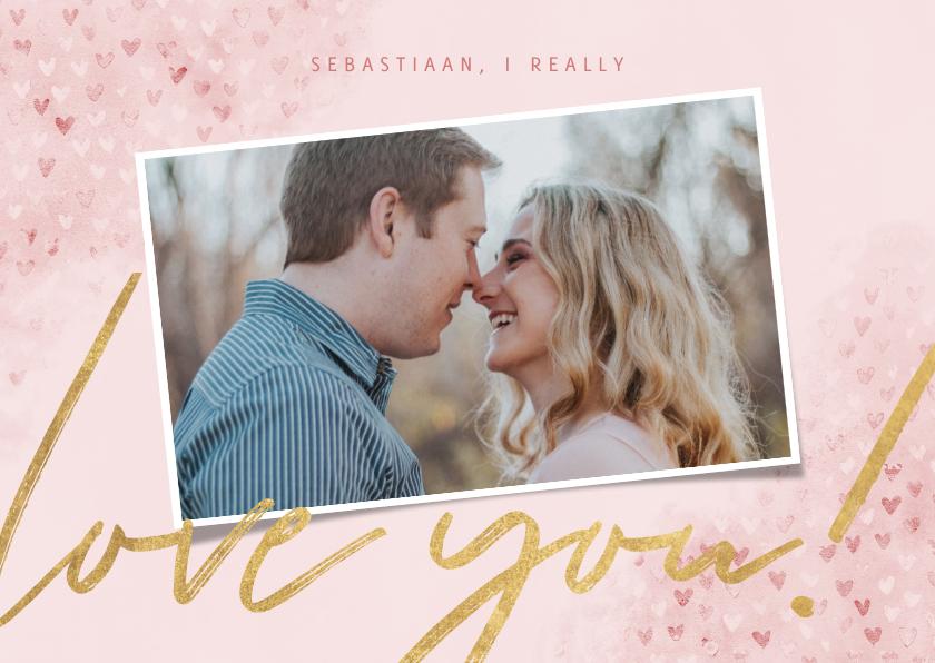 """Valentijnskaarten - Valentijnskaart met waterverf, hartjes """"love you"""" en foto"""