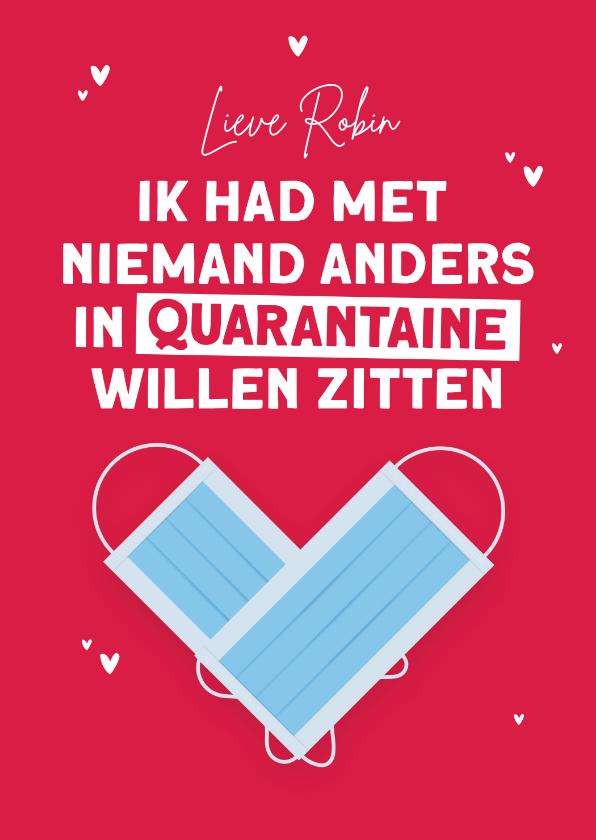Valentijnskaarten - Valentijnskaart quarantaine corona hartjes mondkapjes