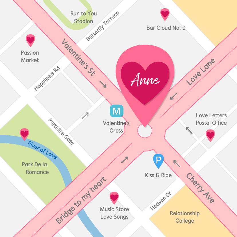 Valentijnskaarten - Valentijnskaart routekaart naar mijn hart