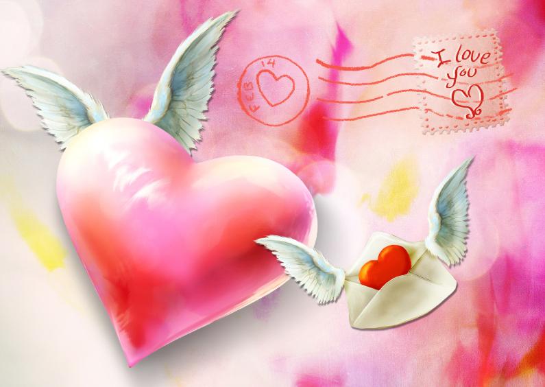 Valentijnskaarten - Valentijnskaart scrapbook harten