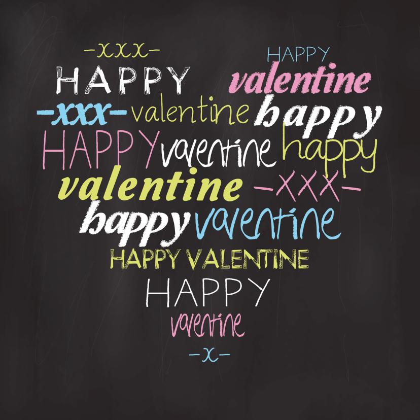 Valentijnskaarten - Valentijnskaart tekst hart krijtbord