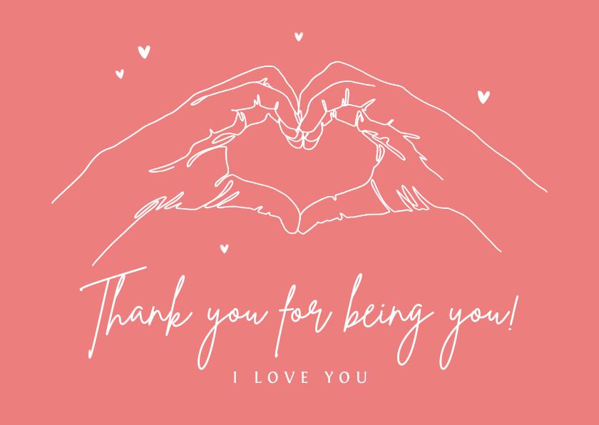 Valentijnskaarten - Valentijnskaart thank you bedankt vriendschap i love you