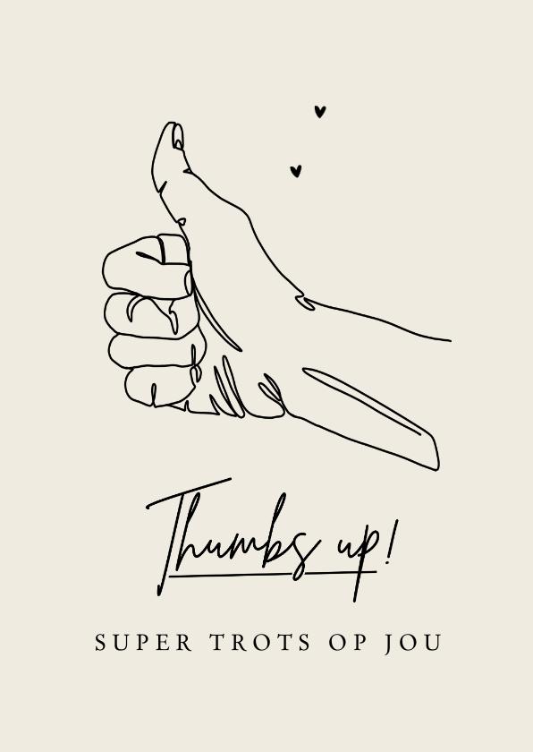 Valentijnskaarten - Valentijnskaart trots bedankt duimpje liefde thumbs up