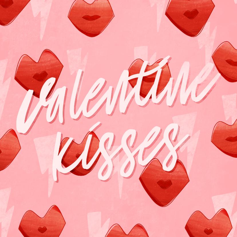 Valentijnskaarten - Valentijnskaart valentine kisses kusjes en bliksemschichten