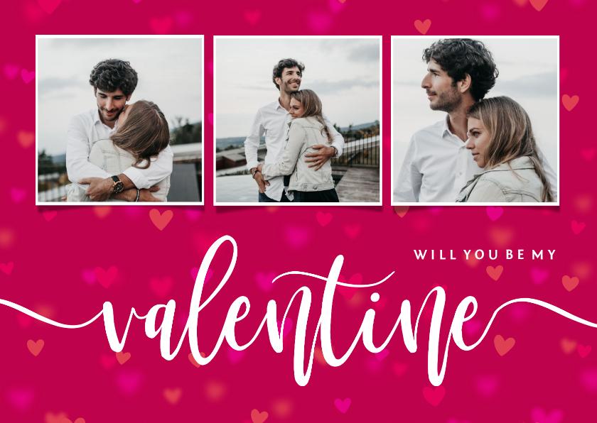 Valentijnskaarten - Valentijnskaart will you be my valentine fotocollage