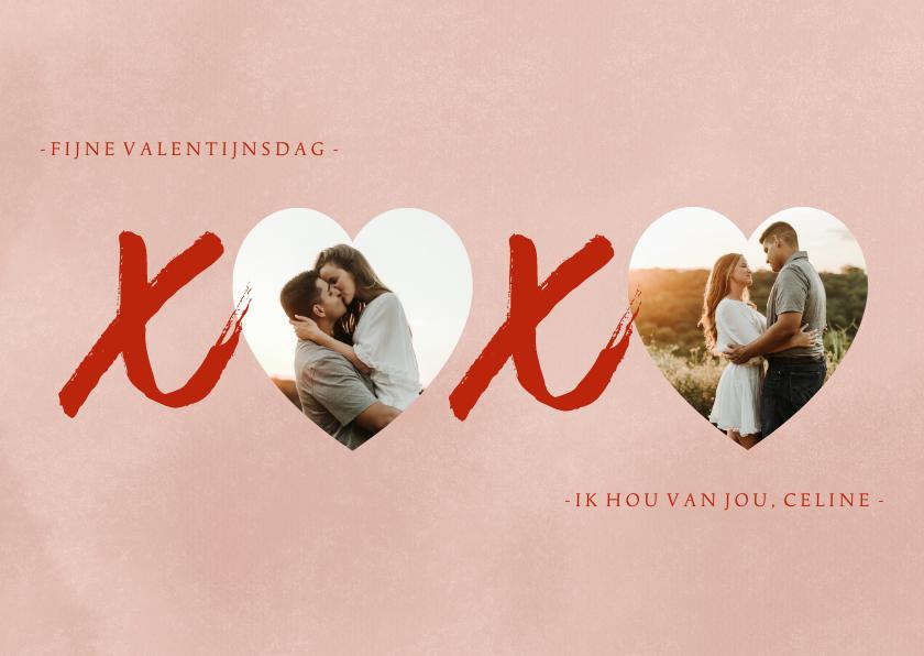 Valentijnskaarten - Valentijnskaart XOXO hartjes foto's en roze verf