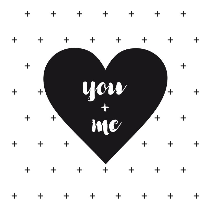 Valentijnskaarten - Valentijnskaart zwart-wit hart