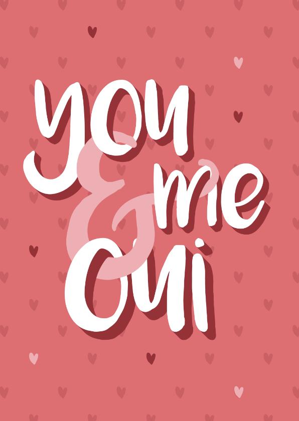 Valentijnskaarten - Valentijnskaartje met quote en hartjes