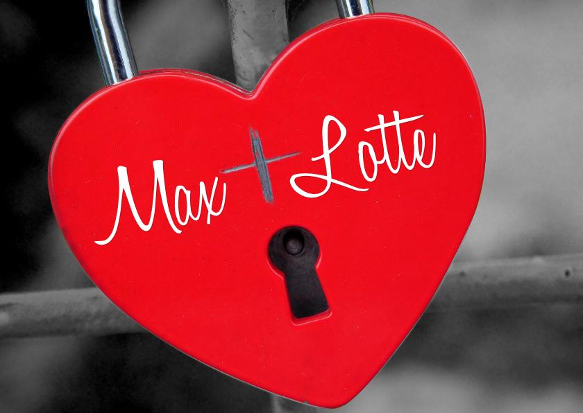 Valentijnskaarten - Valentijskaart hart op slot