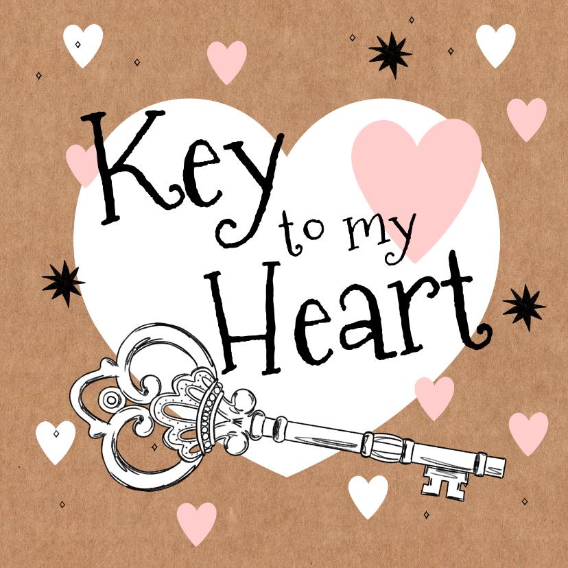 Valentijnskaarten - Vrolijke valentijnskaart met geïllustreerde sleutel en hart