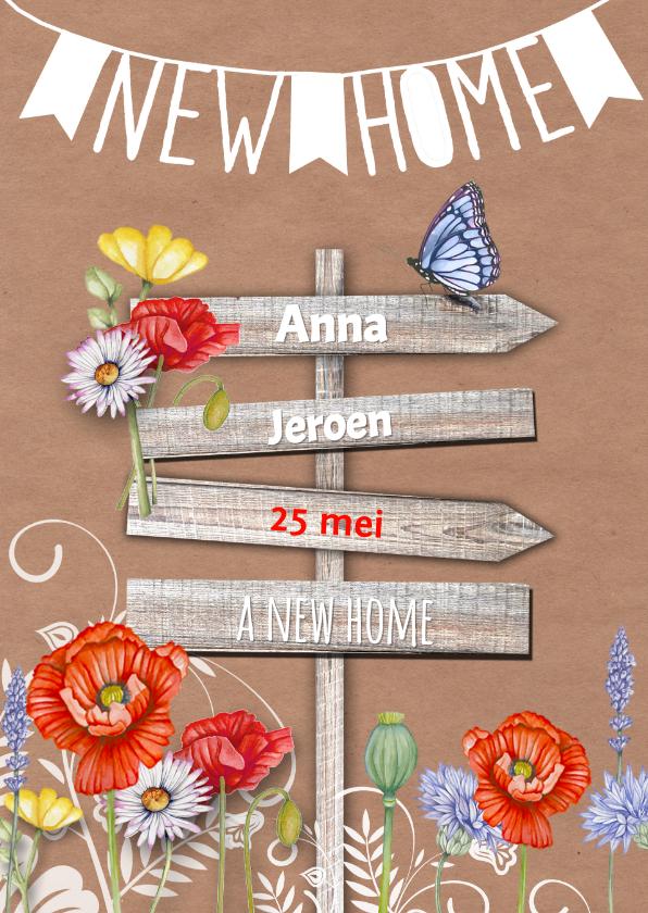 Verhuiskaarten - A New Home wegwijzer