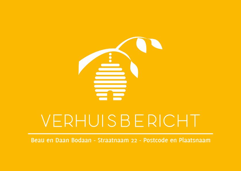 Verhuiskaarten - Geel verhuisbericht bijenkorf