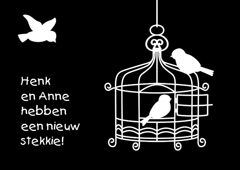 Verhuiskaarten - Grappig verhuisbericht met kooitje en vogeltjes