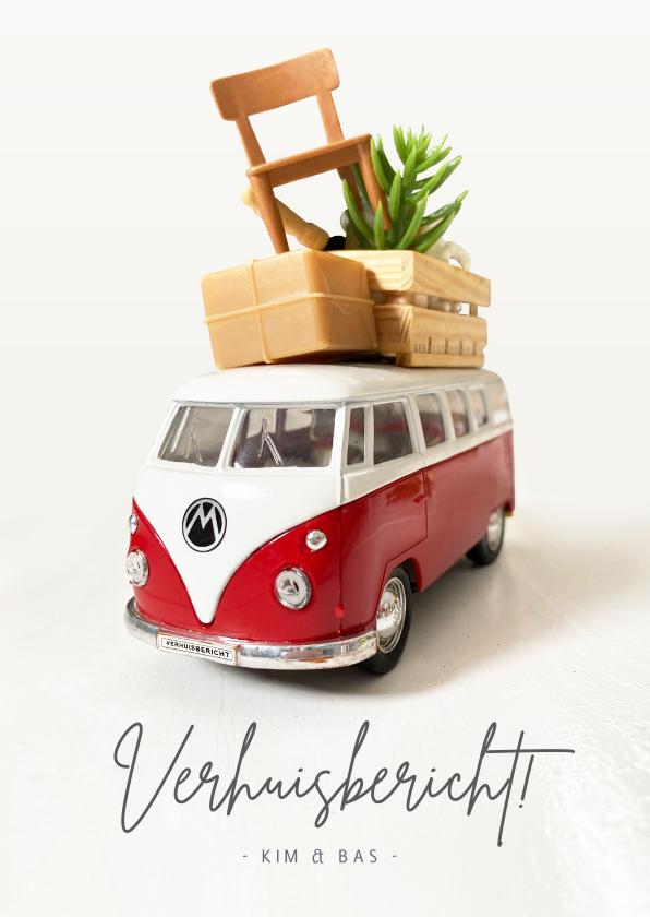 Verhuiskaarten - Grappig verhuisbericht met volgepakt rood Volkswagenbusje