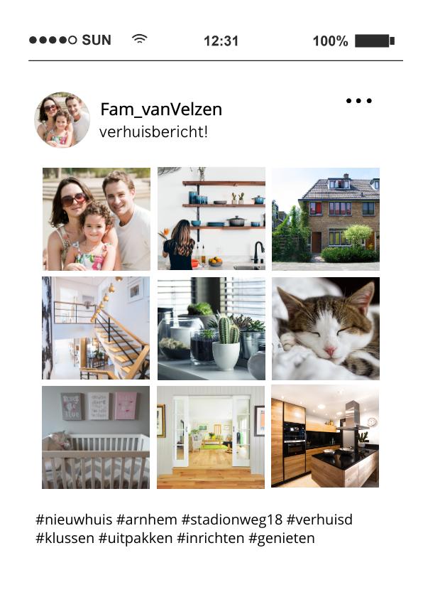 Verhuiskaarten - Grappige verhuiskaart foto tijdlijn social media