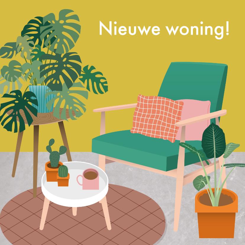 Verhuiskaarten - Hippe verhuiskaart met gezellige woonkamer