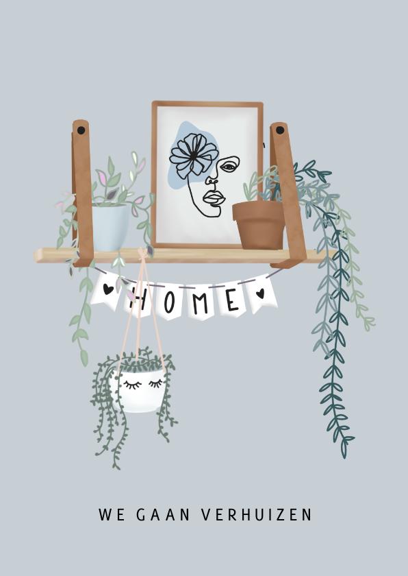 Verhuiskaarten - Hippe verhuiskaart met hangplanten, poster en slinger