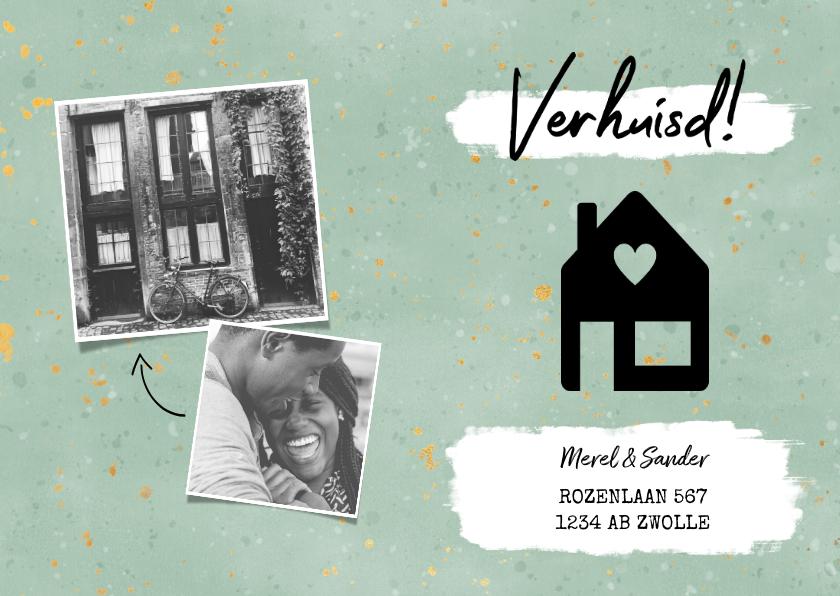 Verhuiskaarten - Hippe verhuiskaart met huisje, verf, spikkels en foto's