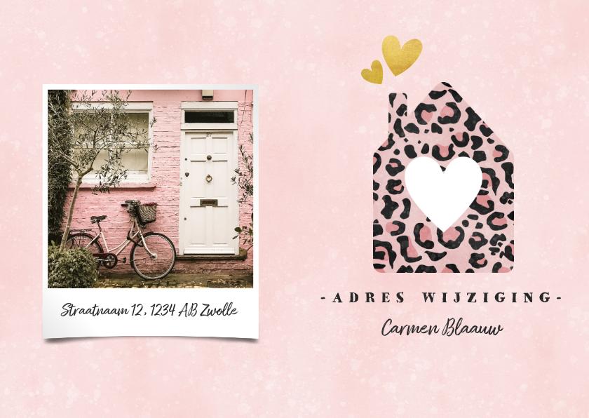 Verhuiskaarten - Hippe verhuiskaart met panterprint huisje, foto en hartjes