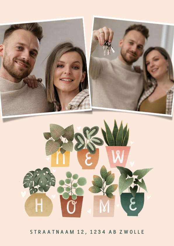 Verhuiskaarten - Hippe verhuiskaart met plantjes, New Home, foto's en hartjes