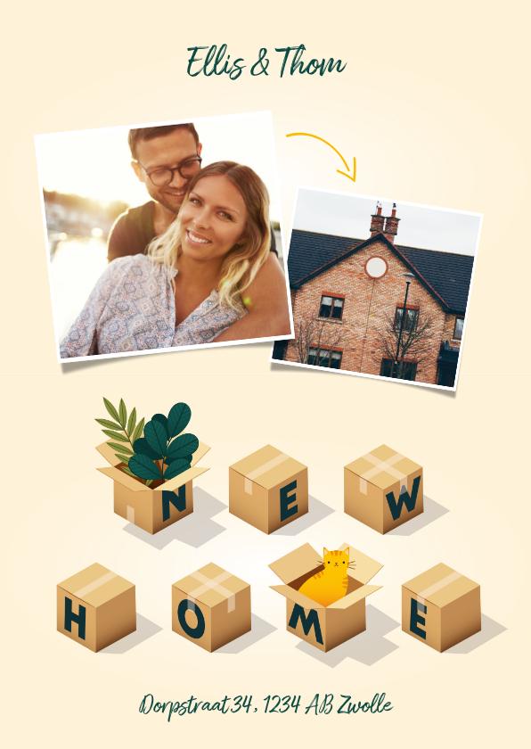 Verhuiskaarten - Hippe verhuiskaart 'New Home' met dozen, planten en kat
